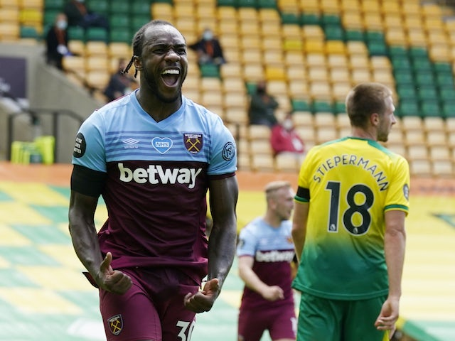 West Ham United's Michail Antonio celebrates scoring against Norwich City in the Premier League on July 11, 2020