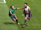 Leeds United's Pablo Hernandez celebrates scoring against Swansea City in the Championship on July 12, 2020
