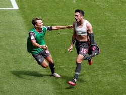 Leeds United's Pablo Hernandez celebrates scoring against Swansea City in the Championship on July 12, 2020