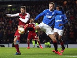 Florian Kamberi in action for Rangers with Braga's Paulinho in the Europa League on February 20, 2020