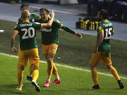 Preston North End's Brad Potts celebrates scoring against Sheffield Wednesday in the Championship on July 8, 2020