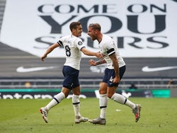 Tottenham Hotspur's Toby Alderweireld celebrates scoring against Arsenal in the Premier League on July 12, 2020