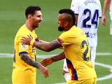 Barcelona's Arturo Vidal celebrates scoring against Real Valladolid in La Liga on July 11, 2020