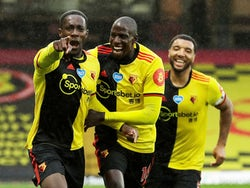 Watford players celebrate Danny Welbeck's goal against Norwich on July 7, 2020