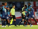 Wycombe Wanderers players celebrate winning the League One playoff semi-final against Fleetwood Town on July 6, 2020