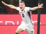Andrea Belotti celebrates scoring for Torino on July 13, 2020