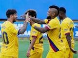 Barcelona captain Lionel Messi celebrates scoring against Alaves on July 19, 2020