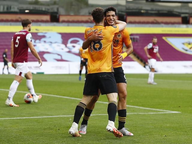 Wolverhampton Wanderers striker Raul Jimenez celebrates scoring against Burnley in the Premier League on July 15, 2020