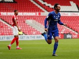 Cardiff City's Sean Morrison celebrates scoring against Middlesbrough on July 18, 2020