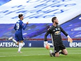 Chelsea midfielder Mason Mount celebrates after scoring against Manchester United via a mistake from David de Gea on July 19, 2020