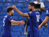 Chelsea striker Olivier Giroud celebrates scoring against Norwich City on July 14, 2020