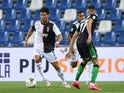 Juventus attacker Cristiano Ronaldo in action against Sassuolo in Serie A on July 15, 2020