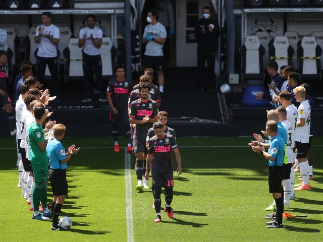 Derby County give Leeds United a guard of honour on July 19, 2020