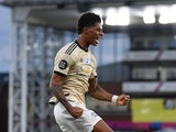 Manchester United forward Marcus Rashford celebrates scoring against Crystal Palace on July 16, 2020