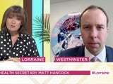 Matt Hancock appearing on Lorraine on July 15, 2020