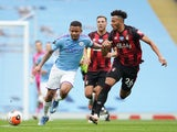 Manchester City's Gabriel Jesus in action with Bournemouth's Lloyd Kelly in the Premier League on July 15, 2020