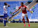 Middlesbrough's Ashley Fletcher celebrates scoring against Reading on July 14, 2020