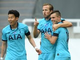 Tottenham Hotspur's Harry Kane celebrates scoring against Newcastle United in the Premier League on July 15, 2020