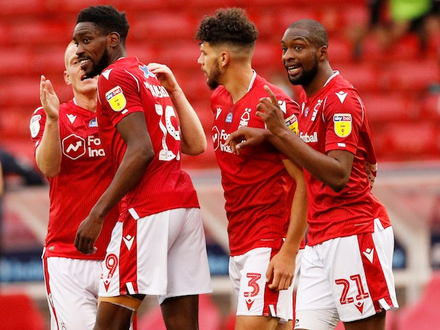 Nottingham Forest's Sammy Ameobi celebrates scoring against Swansea City in the Championship on July 15, 2020