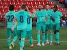 Real Madrid striker Karim Benzema celebrates scoring against Granada on July 13, 2020