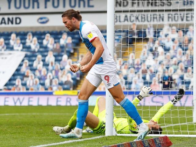 Sam Gallagher celebrates scoring the winner for Blackburn Rovers on July 18, 2020