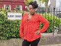 Tameka Empson on the set of EastEnders