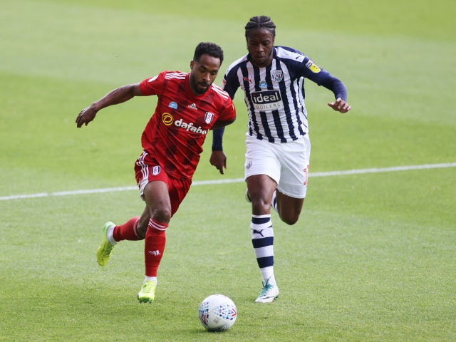 West Bromwich Albion's Romaine Sawyers in action with Fulham's Denis Odoi on July 14, 2020