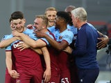 West Ham United players celebrate Declan Rice's goal against Watford in the Premier League on July 17, 2020