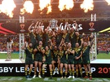 Australia celebrate winning the Rugby League World Cup in December 2017