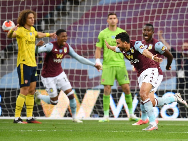 Aston Villa's Trezeguet celebrates against scoring against Arsenal on July 21, 2020