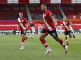 Southampton's Che Adams celebrates scoring against Sheffield United in the Premier League on July 26, 2020