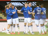 Everton players celebrate Richarlison's goal against Sheffield United on July 20, 2020