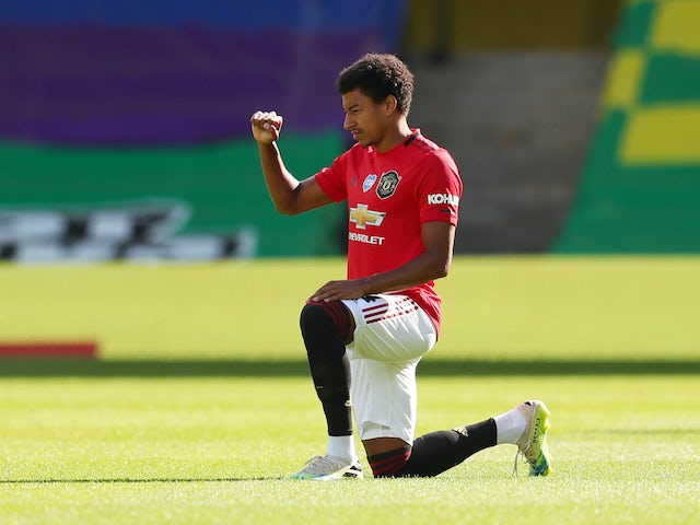 Jesse Lingard in action for Manchester United on June 27, 2020