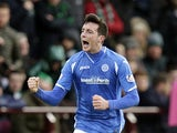 Joe Shaughnessy celebrates scoring for St Johnstone in January 2016