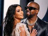 Kim Kardashian and Kanye West pictured at the Vanity Fair Oscars party on February 9, 2020