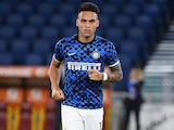 Lautaro Martinez warms up for Inter Milan on July 19, 2020