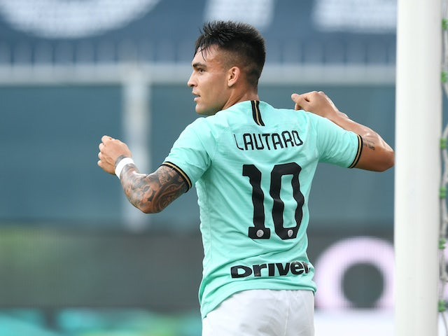Lautaro Martinez in action for Inter Milan on July 25, 2020