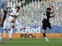 Leeds United's Ben White scores against Charlton Athletic on July 22, 2020