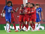 Liverpool players celebrate Georginio Wijnaldum's goal against Chelsea on July 22, 2020