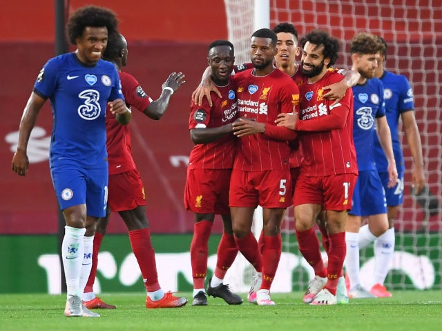 Liverpool players celebrate Georginio Wijnaldum's goal against Chelsea on July 22, 2020