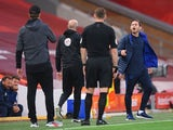 Liverpool manager Jurgen Klopp and Chelsea boss Frank Lampard argue on July 22, 2020