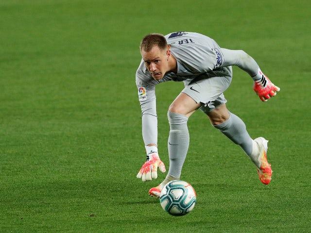 Barcelona goalkeeper Marc-Andre ter Stegen in action in June 2020