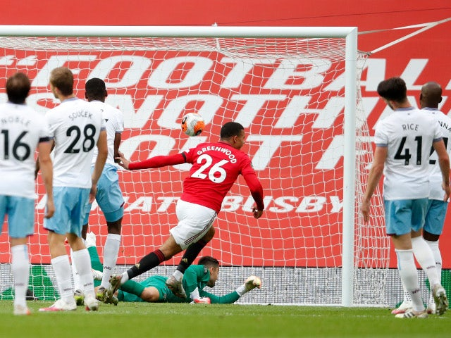 Manchester United striker Mason Greenwood celebrates scoring against West Ham United on July 22, 2020