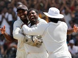 Sri Lanka's Muttiah Muralitharan celebrates taking his 800th Test wicket in 2010