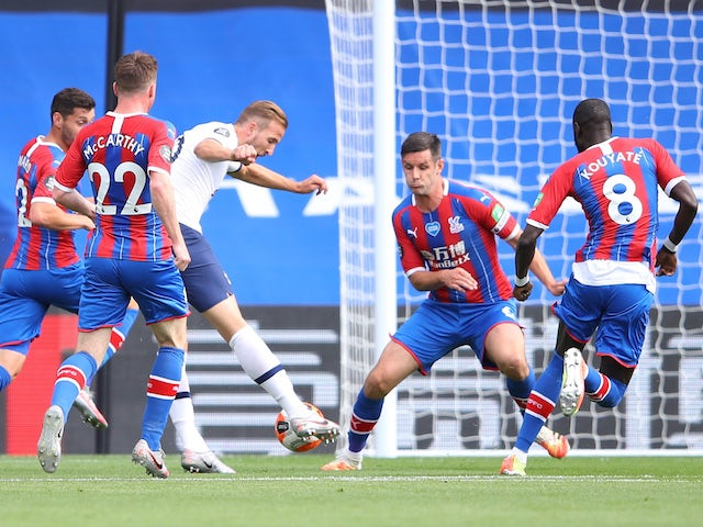 Tottenham Hotspur's Harry Kane scores against Crystal Palace in the Premier League on July 26, 2020