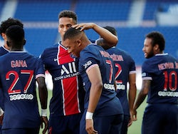 Paris Saint-Germain's Kylian Mbappe celebrates with teammates after scoring against Celtic in a pre-season friendly on July 21, 2020