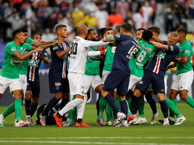 Paris Saint-Germain and Saint-Etienne players fight in the Coupe de France final on July 24, 2020