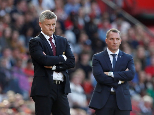 Manchester United manager Ole Gunnar Solskjaer and Leicester City counterpart Brendan Rodgers watch on in September 2019