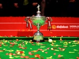 A general shot on the snooker World Championship trophy