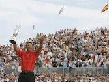 TigerWoods celebrates winning The Open in 2006